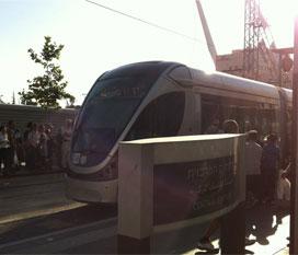 Jerusalem Light Rail - in Hebrew - harakevet hakala be-Yerushala-im