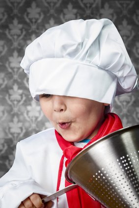 a kid cooking