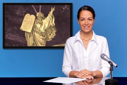 a newscast featuring Moses on Mount Sinai