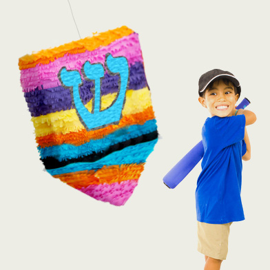 a pinata in the shape of a dreidel, sevivon, celebrating Januca