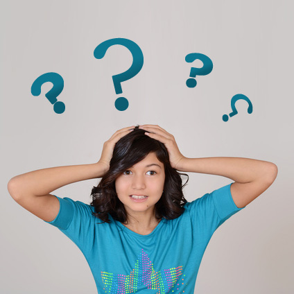 a confused girl holding her head, surrounded by question marks