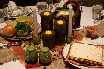 decorated seder table