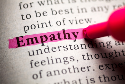 the word empathy highlighted in a book