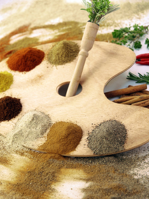 a palette with different spices