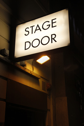 a sign saying Stage Door