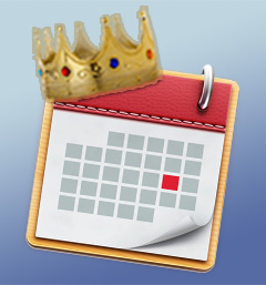 a calendar with a crown on top of it