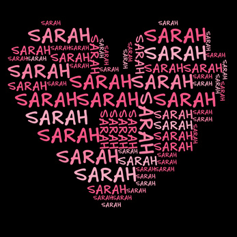 a heart filled with the name Sarah
