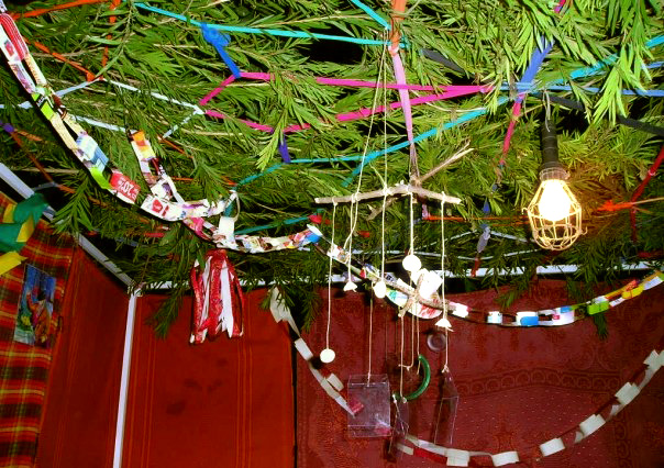 Sukkah decorations made of T-shirts