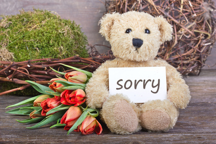 a teddy bear with a sign that says 'Sorry'