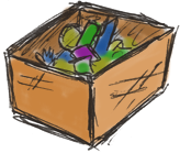 a box full of stuff